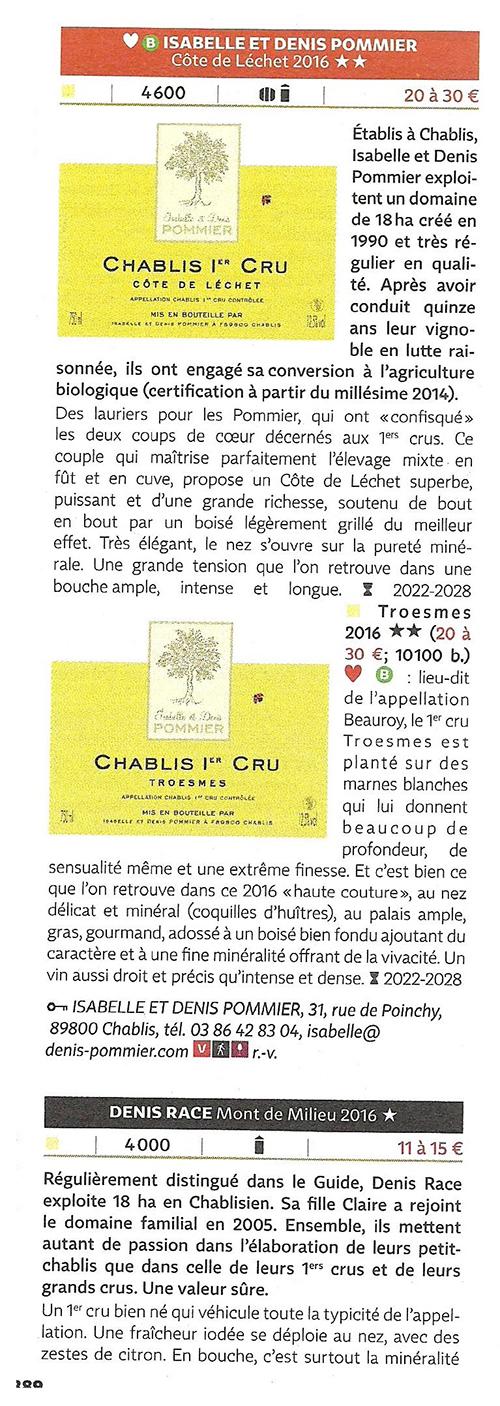 Troesmes 2016 et Côte de Léchet 2016 récompensés au Guide Hachette des vins 2019